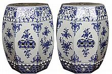 Pair of Chinese Blue and White Seats