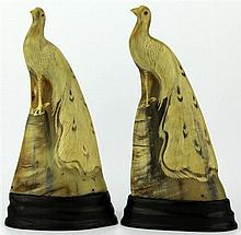 Chinese Pair of Carved Horn Peacocks