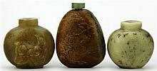 Stone & Two Jade Snuff Bottles