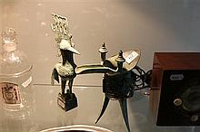 Chinese Bronze Wine Cup with a Figural Phoenix