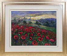 Noeline Millar- Poppy Fields, oil on board, 48 x 63.5cm, signed lower left