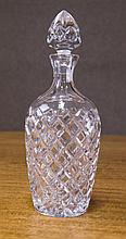 A hand cut lead crystal decanter, slash cut & diamond patterns