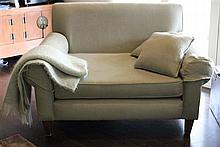 Oversize linen upholstered armchair, overall height 93cm