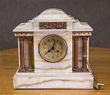 C 19th Marble architectural form mantel clock