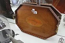 Mahogany & Inlaid Serving Tray