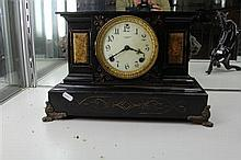 Saunders Black Metal Mantel Clock