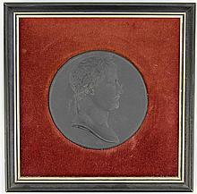 Basalt Impressed Napoleon Plaque with Wedgwood Entaglio Cameos