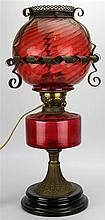 Victorian Duplex Ruby Glass Kerosene Converted Lamp