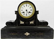 Japy Frères Black Slate Mantle Clock