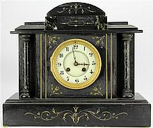 French Black Slate Mantle Clock
