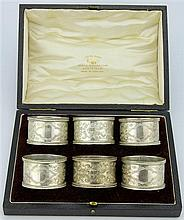 English Hallmarked Sterling Silver George V Set of Six Napkin Rings