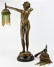 Art Nouveau Bronze Female Figural Lamp