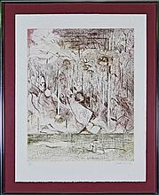 Arthur Boyd (1920 - 1999) - Shoalhaven Landscape (with Mythical Creatures) 65 x 51.5cm