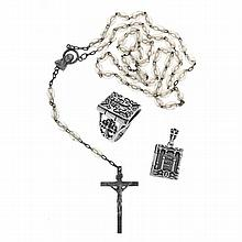 A GROUP OF SILVER JEWELLERY; rosary beads, hinged bible locket and a reliquary style ring. Size W.