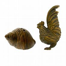 TWO CARVED BOXWOOD NESUKES; a cockerel and snail shell with frog.