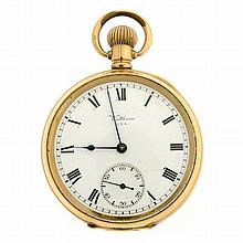 A WALTHAM FULL HUNTER OPEN FACE POCKET WATCH; with white dial, Roman Numerals and subsidiary seconds on a 15 Jewel movement c. 1909
