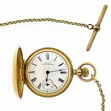 A LADY'S 10CT GOLD WALTHAM POCKET WATCH; with white dial, black Roman Numerals and subsidiary seconds, C.1895 not working to 9ct gol..
