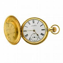 A WALTHAM GENT'S 18CT GOLD FULL HUNTER POCKET WATCH; white dial with black Roman numerals, subsidiary seconds on a lever escapement...
