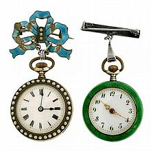 TWO SILVER AND ENAMEL OPEN FACE POCKET WATCHES; one set with faux pearls, case and suspension bow brooch inlaid with blue enamel (so...