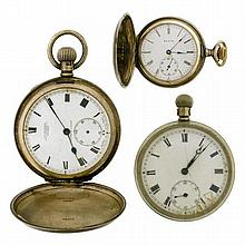 THREE POCKET WATCHES; a lady's Elgin silver full hunter, a gents silver full hunter and a nickel open face (not working).