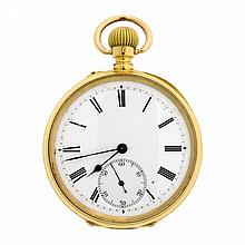 AN 18CT GOLD  OPEN FACE POCKET WATCH; white dial with black Roman numerals, subsidiary seconds, stem wind, push piece at 11 o'clock...
