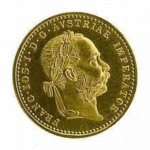 AN AUSTRIAN 1 DUCAT GOLD COIN; 1915 restrike coin in 22ct gold. Wt. 3.5g.