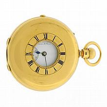 AN 18CT GOLD DEMI HUNTER POCKET WATCH; front cover with blue enamel Roman numerals, underside engraved to H Ryder from his Master an...