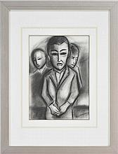 Robert Dickerson (1924 - ) - Man in a Crowd 38 x 28cm