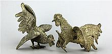 Mexican Sterling Silver Pair of Fighting Cocks