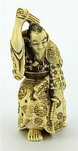 Ivory Carved Meiji Warrior Figure