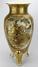 Satsuma Baluster Shaped Three Footed Vase