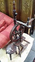 Elm Spinning Wheel w Stool. Circa 1880