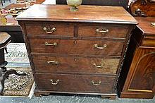 George III Mahogany Chest of Five Drawers, with carved cantered corners and bracket feet