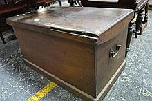 Late 19th Century Pine Trunk, with hinged lid
