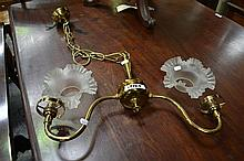 Brass Double Branch Light with Frosted Shades