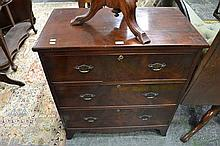 George III Mahogany Chest of Three Drawers, with splayed bracket feet