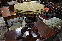 Victorian Walnut Revolving Piano Stool, on turned pedestal