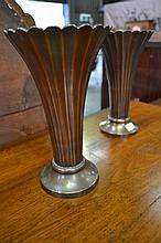 Pair of Art Deco Bronzed Urns, of trumpet form with flutes