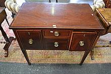 George III Inlaid Mahogany Side Table on Squared Tapering Legs & Central Arch