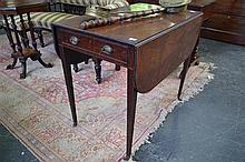 George III Mahogany Pembroke Table fitted w a Drawer & Tapering Legs