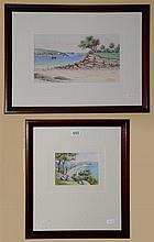 M Simpson, Two Beach scenes Palm Beach. watercolours