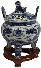 Chinese Blue & White Lidded Censer