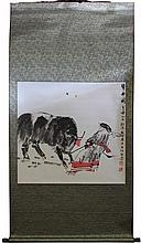 Chinese Bull Herder Scroll