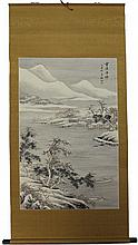 Chinese Fishing Village Scene Scroll