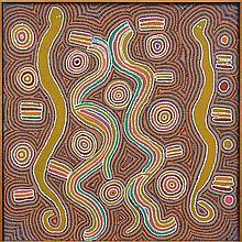Maggie White Nakamarra (1935 - ?) - Snake & Rain Dreaming 76 x 76cm