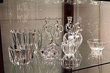 Group of Orrefors Glass Bowls & Others incl. Villeroy & Boch, plus a pair of Crystal Candelabrums