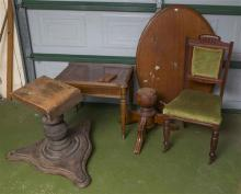 A group lot of antique furniture pieces, including table top, bases and Edwardian dining chair, all for restoration