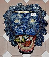 Antique majolica lion head wall pocket