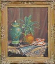 A Boniface, still life with green ginger jar, oil on canvas. 59 x 47cm