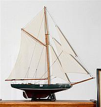 Timber pond yacht. Height 94 x width 89cm